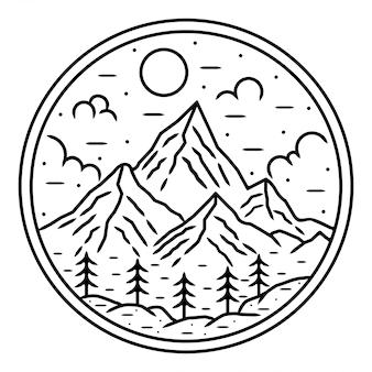 Berg monolione buiten logo-ontwerp