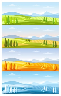 Berg natuurlandschap in vier seizoenen set