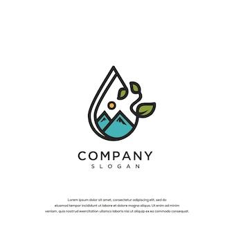 Berg olie logo ontwerp vector sjabloon