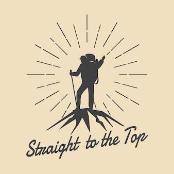 Berg reizen man retro embleem. man op bergtop logo.