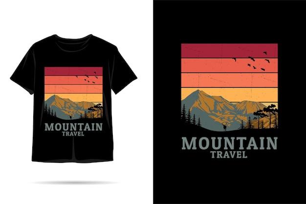 Berg reizen silhouet tshirt ontwerp