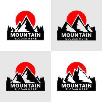 Berg silhouet logo ontwerpconcept