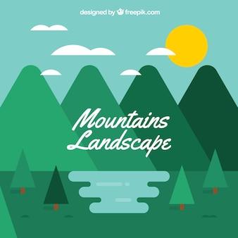 Bergachtig landschap achtergrond met dennen in plat ontwerp