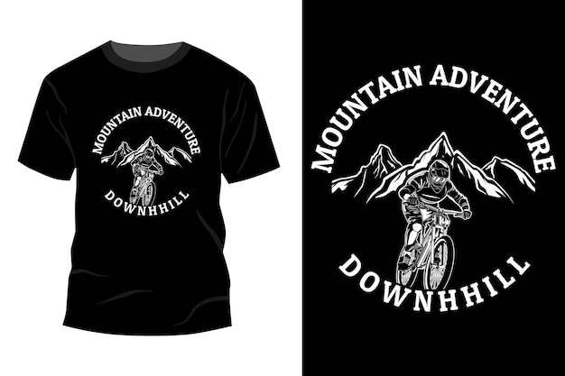 Bergavontuur downhill t-shirt mockup ontwerp silhouet