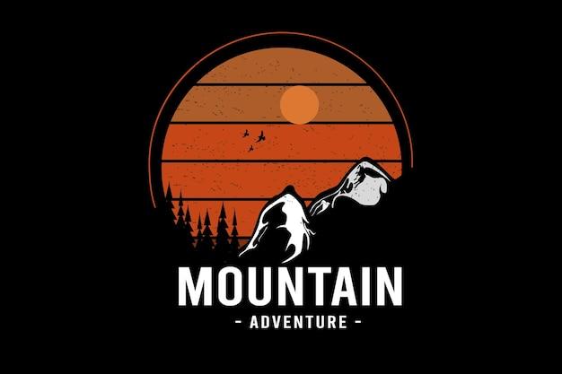 Bergavontuur kleur oranje en wit