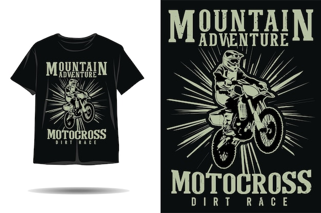 Bergavontuur motorcross dirt race silhouet tshirt ontwerp