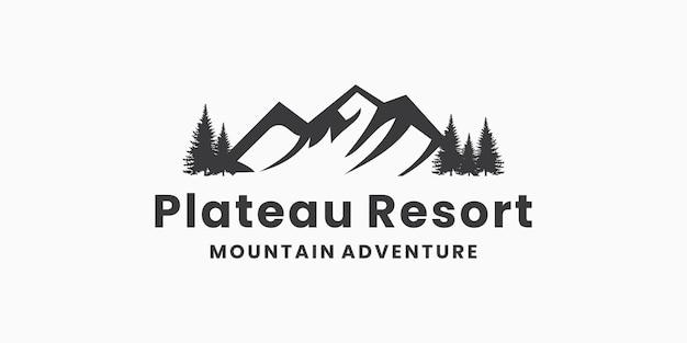 Bergavontuur, plateauresort, symbool voor logo-ontwerp