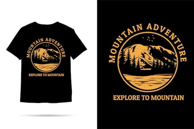 Bergavontuur verken het ontwerp van een silhouett-shirt