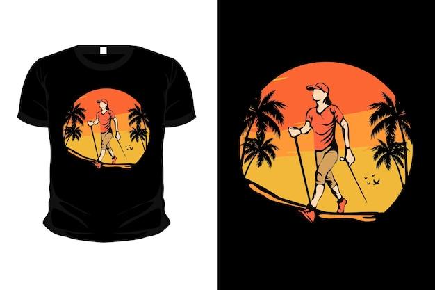 Bergavontuurvrouwen volgen merchandise illustratie mockup t-shirtontwerp
