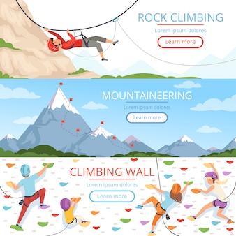 Bergbeklimmen foto's. touw carabiner helm rockie heuvels mensen extreme sport vector banners sjabloon met plaats voor tekst