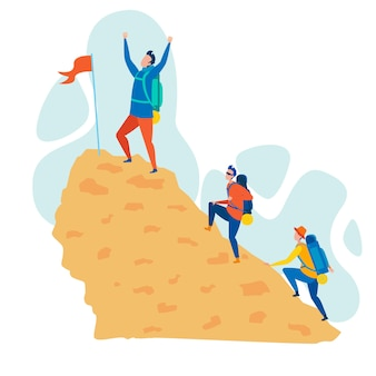 Bergbeklimmen hobby platte vectorillustratie