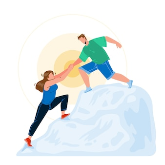 Bergbeklimmen man en vrouw paar vector. jonge jongen helpt meisje bergbeklimmen, teamwork in de natuur. karakters sportieve actieve en extreme tijd samen platte cartoon afbeelding