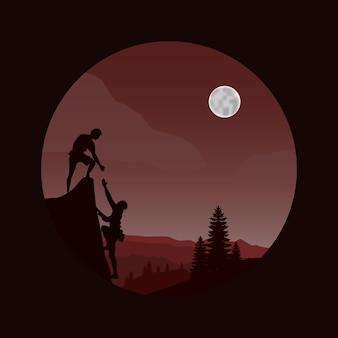 Bergbeklimmer silhouet