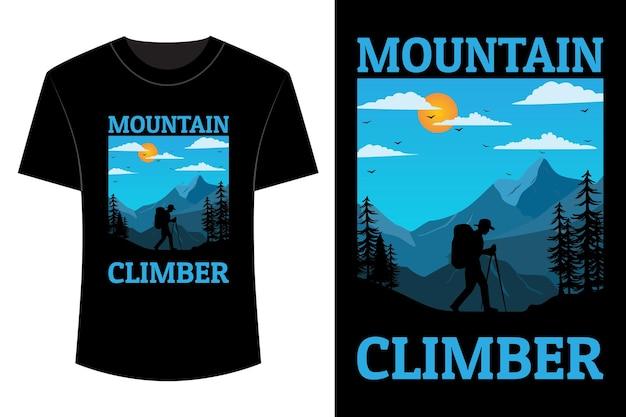 Bergbeklimmer t-shirt ontwerp vintage retro