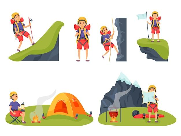 Bergbeklimmer wandelen, rusten, wandelen en trekking set. zomerwandelaar backpacker toerist die reist, de natuur observeert en de top van de berg bereikt