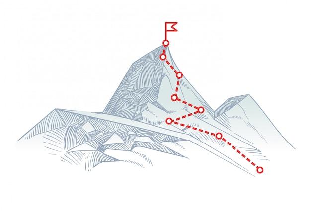 Bergbeklimming van de route naar de top. zakelijke reispad in uitvoering tot succes vector concept