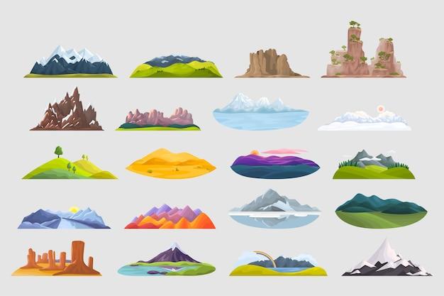 Bergen doodle set. inzameling van kleurrijke steenrotsen van de beeldverhaalstijl piekt heuveltop