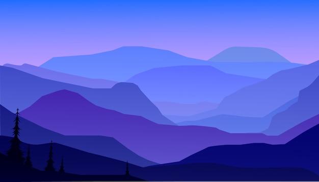 Bergen en boslandschap in de nacht.