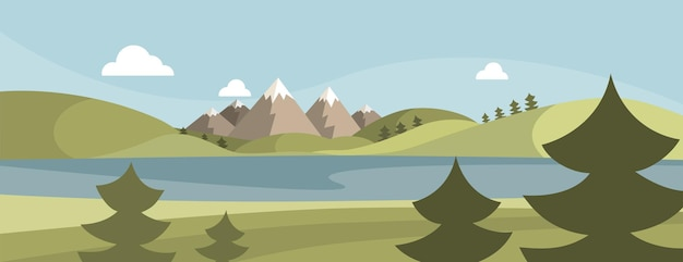 Bergen en meerlandschap. platte ontwerp achtergrond. vector illustratie