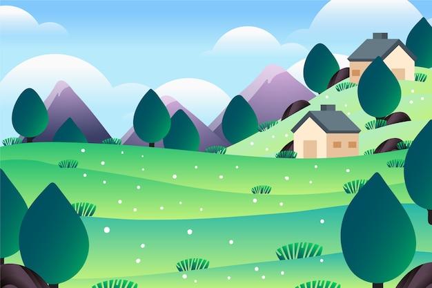 Bergen en schattige huizen lente landschap