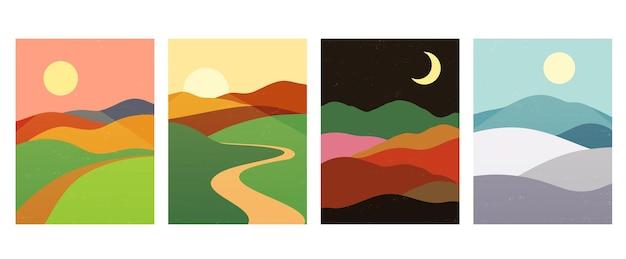 Bergen heuvels met zonsondergang, zonsopgang, nacht. abstracte minimalistische landschap natuur achtergronden in scandinavische stijl.