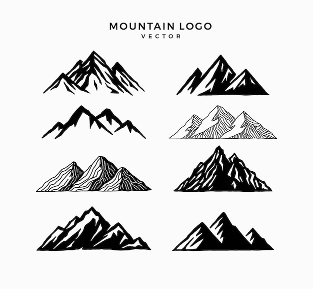 Bergen logo set bergtop landschapemplate