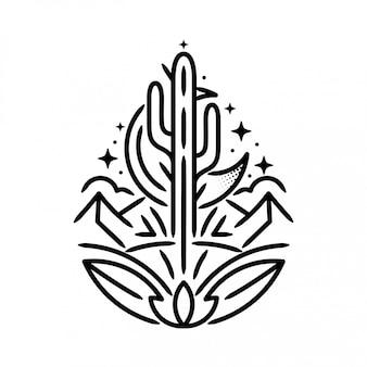 Bergen met cactus en maansticker