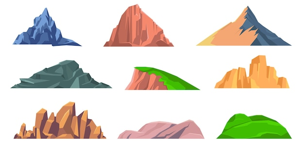 Bergen rotsen platte icoon collectie