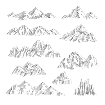 Bergen schets. buiten wilde natuur rotsen en bergen collectie hand getrokken set.