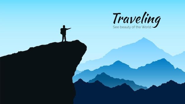 Bergenlandschap in blauwe kleuren. silhouet van de mens op rots. reizen en toerisme illustratie
