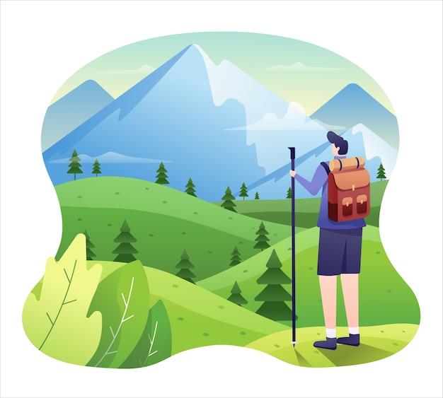Bergillustratie, wandelaar in grasweide klaar voor avontuur naar de berg.