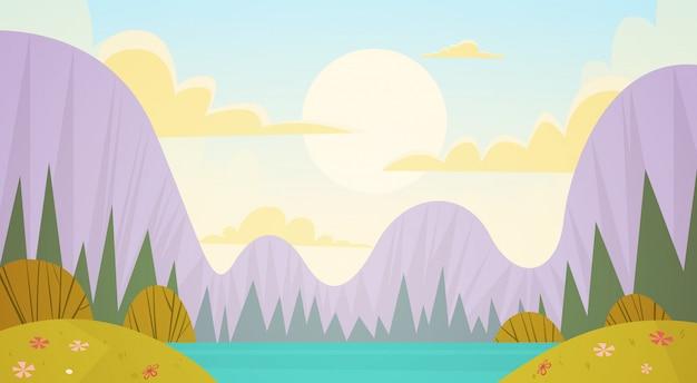 Bergketen lente landschap landweg natuur achtergrond