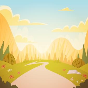 Bergketen lente landschap landweg natuur