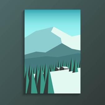 Bergketen met dennenbos in minimale lscape-weergavestijl en klein huthuis