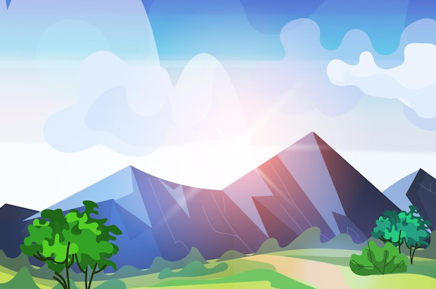 Bergketen zonsopgang prachtige natuur landschap achtergrond horizontale vectorillustratie