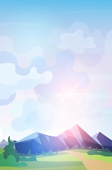 Bergketen zonsopgang prachtige natuur landschap achtergrond
