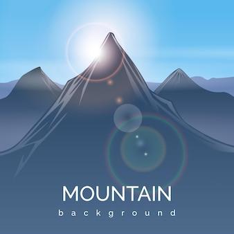 Berglandschap achtergrond met zonnestraal. bergzonnestraal, piekberg, de berg van het reiszonlicht, zonneschijnlicht, illustratie