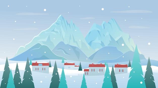 Berglandschap in de winter met dorp op sneeuwheuvels en bospijnbomen