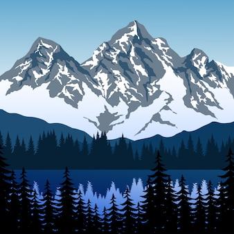 Berglandschap met sneeuw, meer en pijnbomen