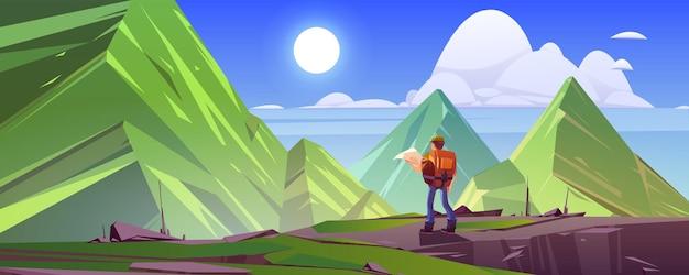 Berglandschap met wandelaar man met rugzak en kaart vector cartoon illustratie van rotsen en h...
