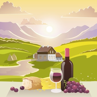 Berglandschap met wijn en kaas