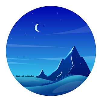 Berglandschap 's nachts met bos en heuvels in vlakke stijl