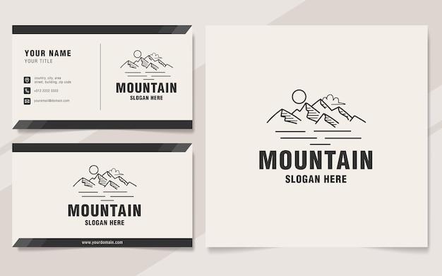 Berglijn logo sjabloon monogram stijl