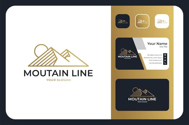 Berglijnkunst elegant logo-ontwerp en visitekaartje
