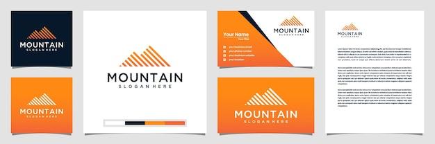 Berglogo-ontwerp met logo-visitekaartje in lijnstijl en briefhoofd