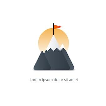 Bergtop met illustratie van de vlag