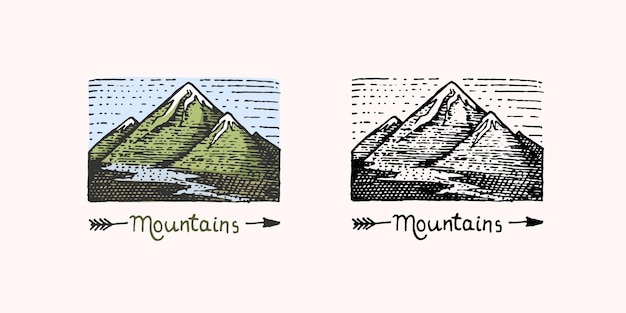 Bergtoppen embleem gegraveerd vintage hand getekende oude label of badges