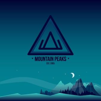 Bergtoppen. logo en landschap illustratie.