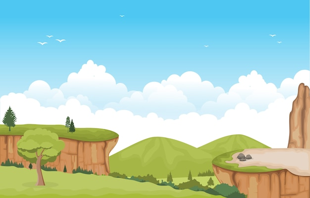 Bergvallei cliff tree nature landscape vector illustration