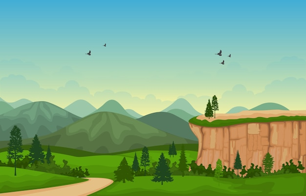 Bergvallei cliff tree nature landscape vector illustration
